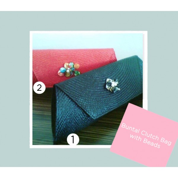 Clutch Bag with Beads (Buntal)