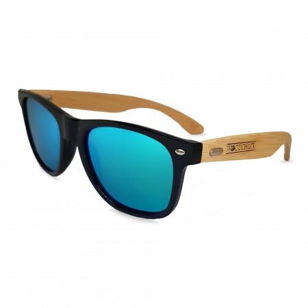 Woodie Wayfarer Sunglasses (Blue Mirror Lens)